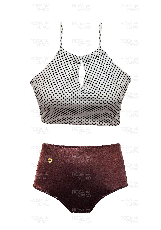 6c4ce2805 Biquíni Cintura Alta - Hot Pants - Poá Shine — Rosa Verão