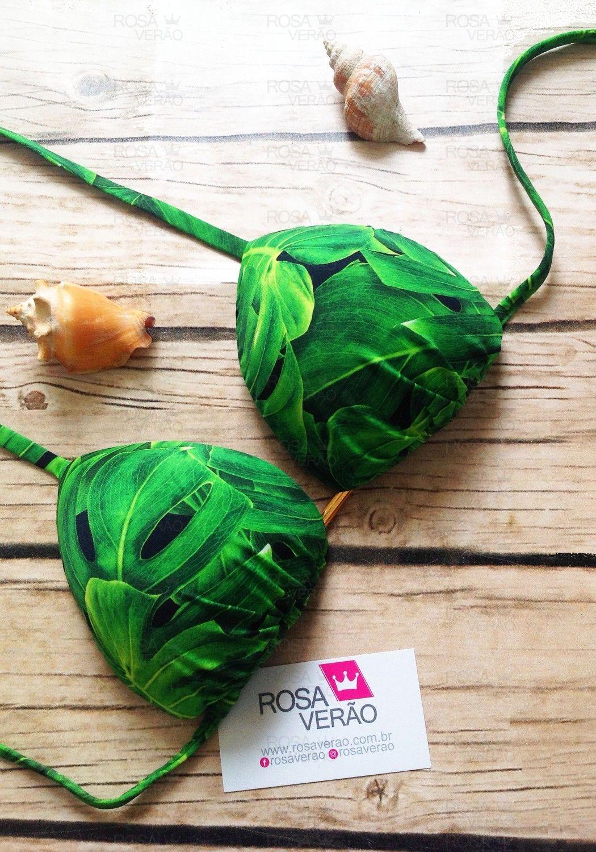 Top De Biquíni Cortininha Leaf