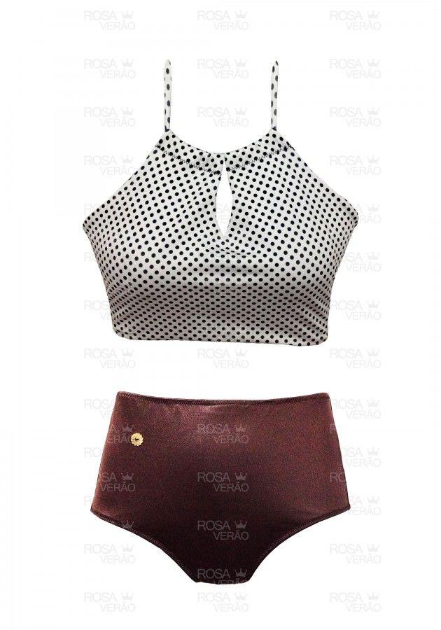 Biquíni Cintura Alta - Hot Pants - Poá Shine