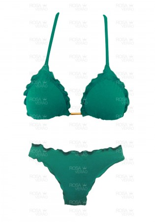 Biquíni Ripple Verde Jade Fixo - Empina Bumbum