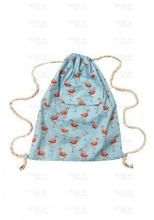 Bolsa de Praia / Mochila Saco - Flamingo Azul Claro