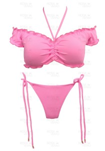 Biquíni Ciganinha/ Blusinha Rosa Chiclete - Empina Bumbum