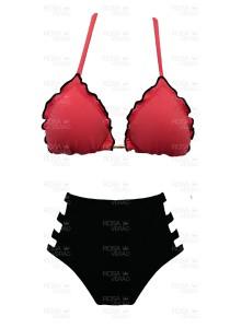 Biquíni Cintura Alta Recortes - Hot Pants - Coral e Preto