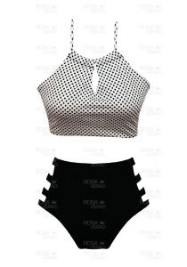 Biquíni cropped Cintura Alta Recortes - Hot Pants - Bolinhas