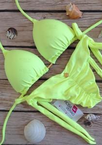 Biquíni Cortininha Lacinho Amarelo Neon