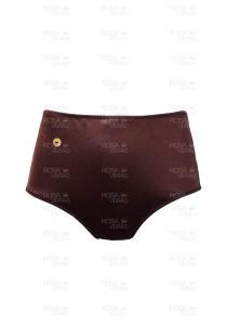 Calcinha Cintura Alta - Hot Pants - Marrom Shine