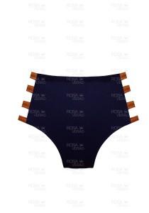 Calcinha Cintura Alta Tiras - Hot Pants - Marinho e Bronze